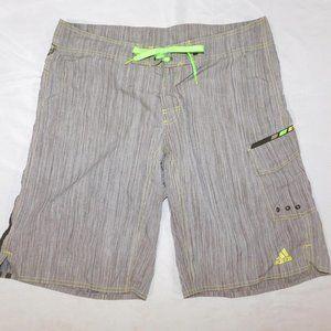 Adidas Mens L Gray Green Board Shorts